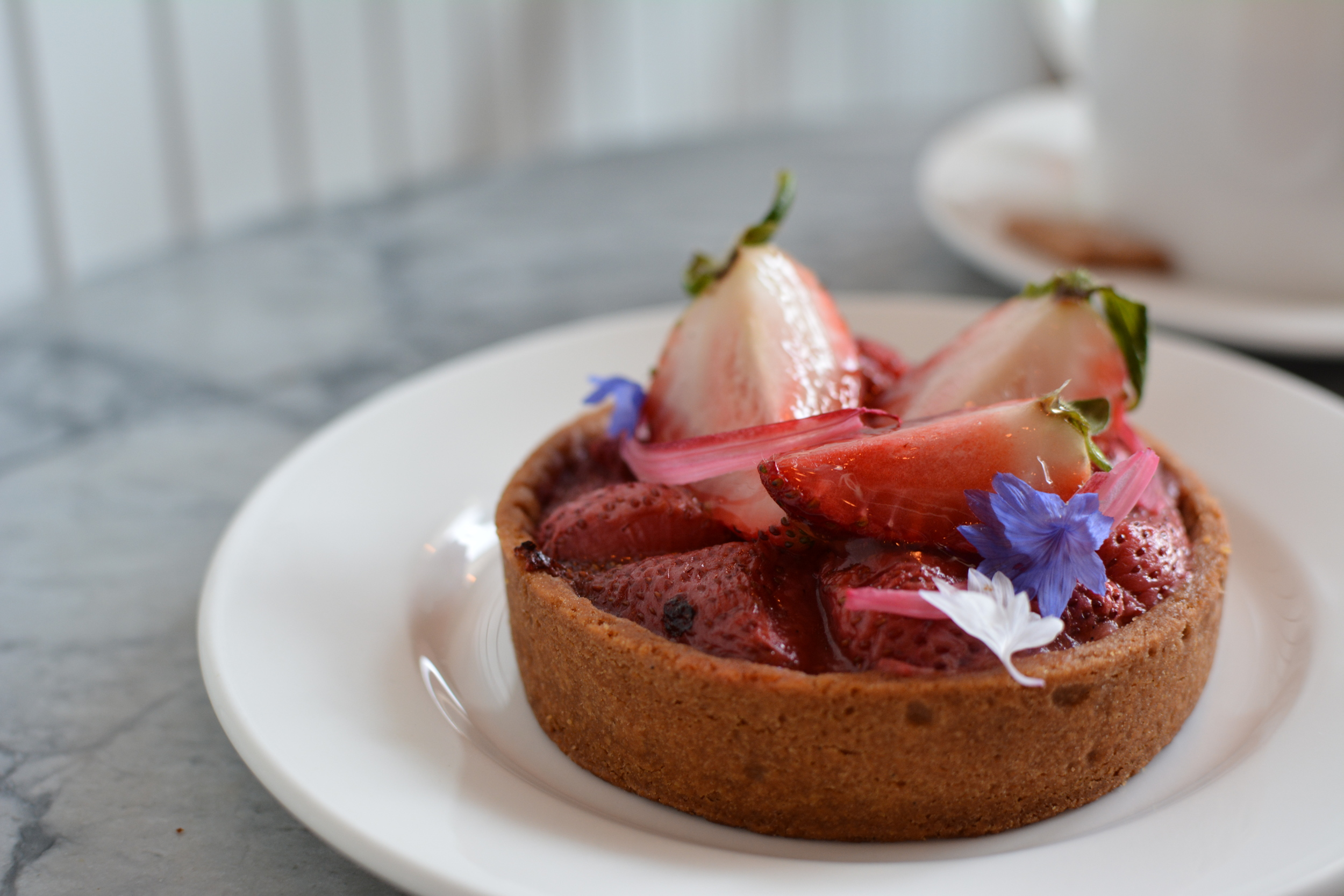 Strawberry Rhubarb tart at Beaucoup Bakery.