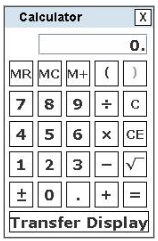 4-function on-screen calculator