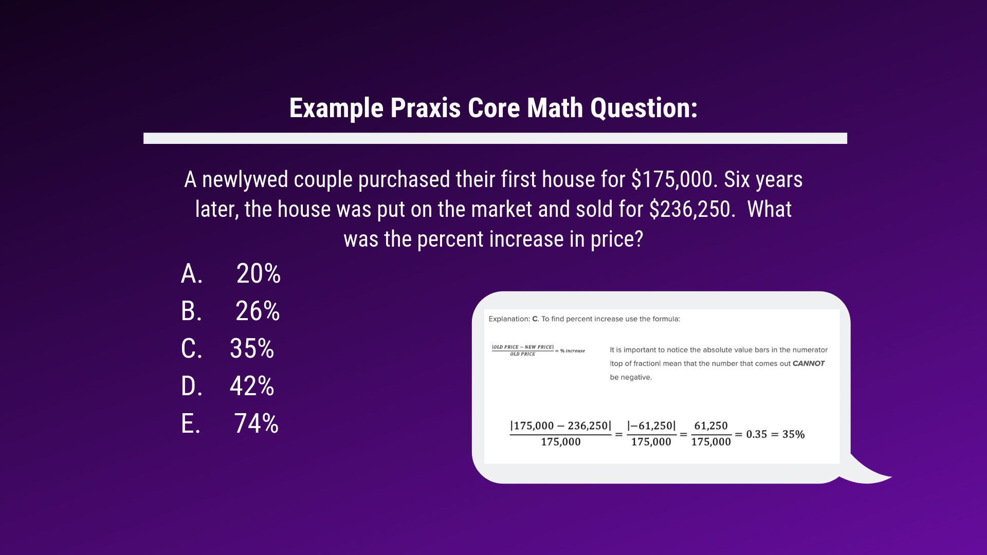Copy of Example Praxis Core Math Question_ A newlywed couple purchased their first house for $175,000. Six years later, the house was put on the market and sold for $236,250. What was the percent increase in price_ A (1).png