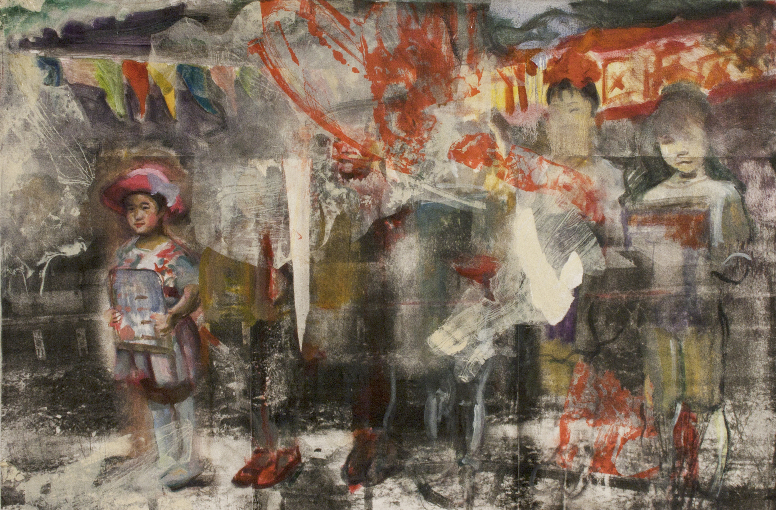 Prize , Oil and silkscreen collage on linen, 38x49 inches, 2013