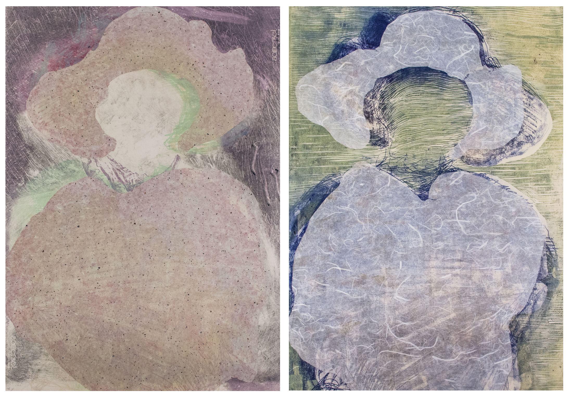 Left: Chine-colle on stone lithograph; Right: Chine-colle on relief print. 22x30 inches ea., 2014