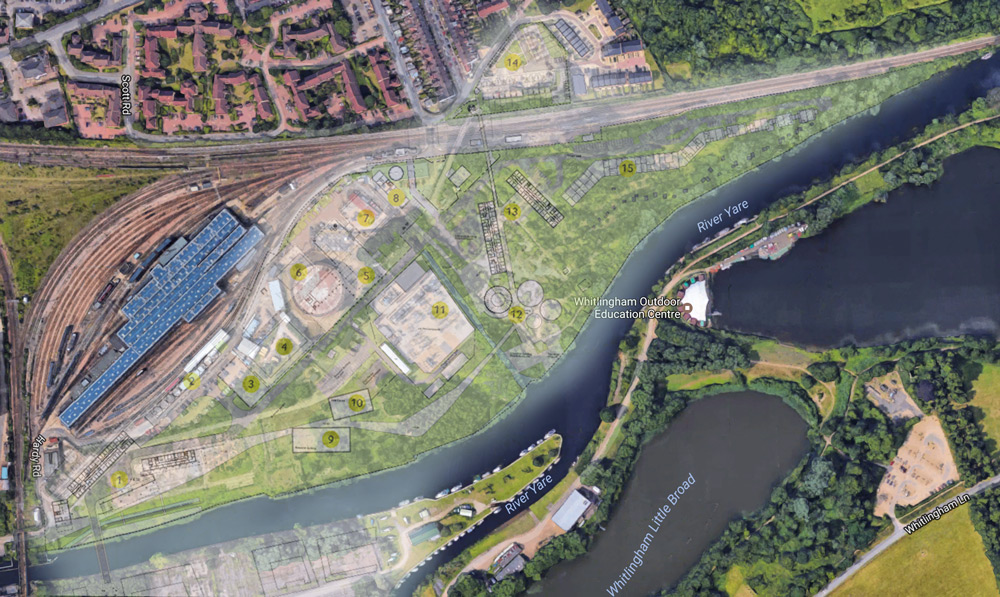 Google Maps compared with the scheme's aerial plans viewable here: http://www.generationparknorwich.com/future.php