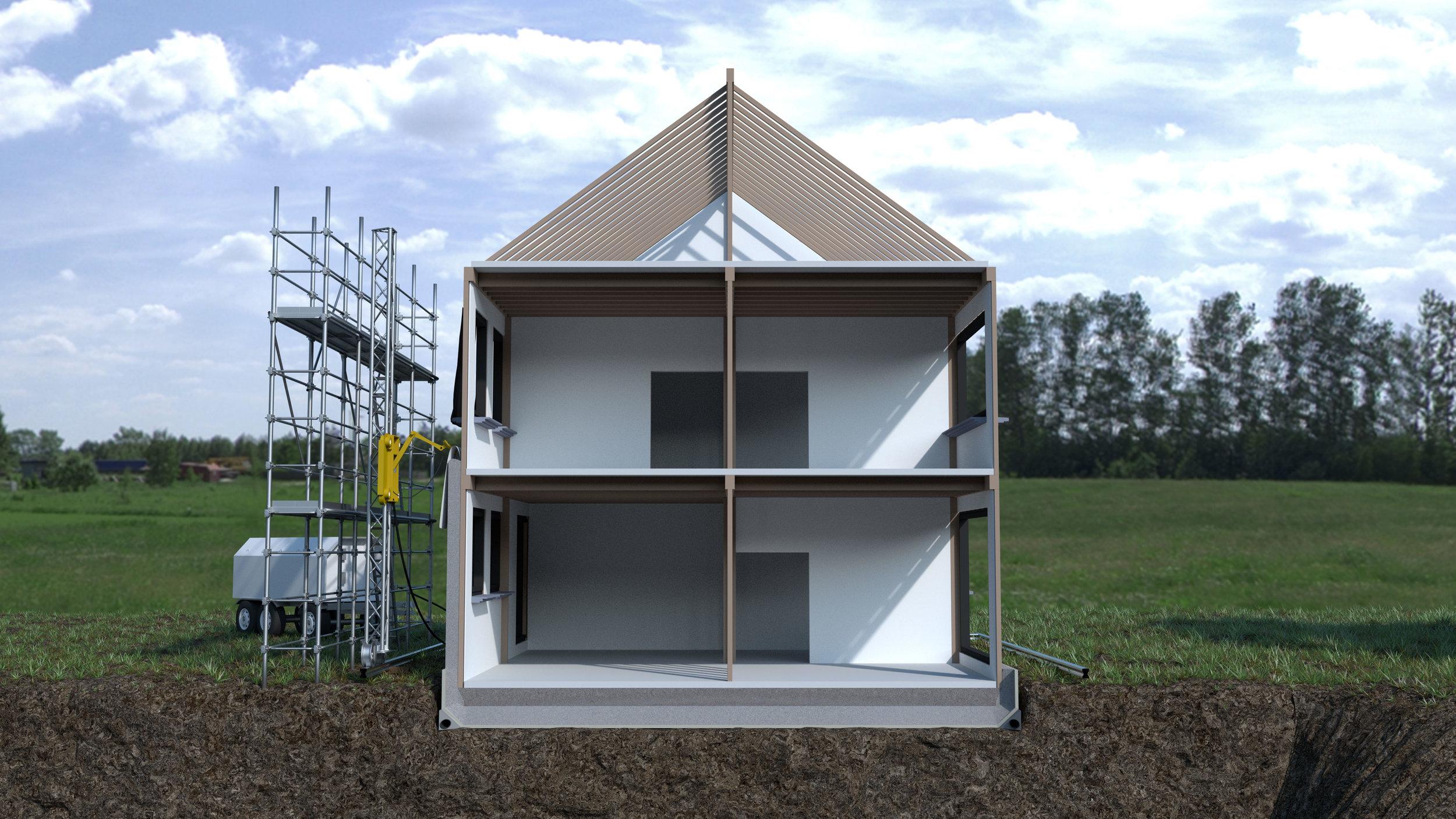 Intérieur: murs, planchers, portes & chassis, réseaux, finitions.
