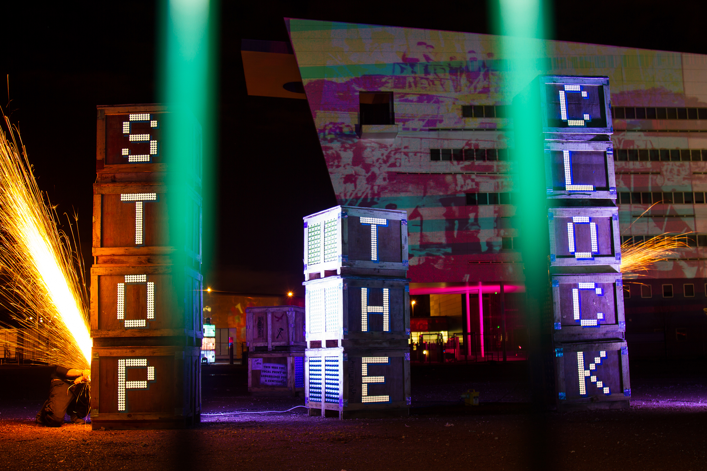 'Goods In' collaboration with Luke Perry, work created for Longbridge Light Festival 2014, photography by Pete Sloan