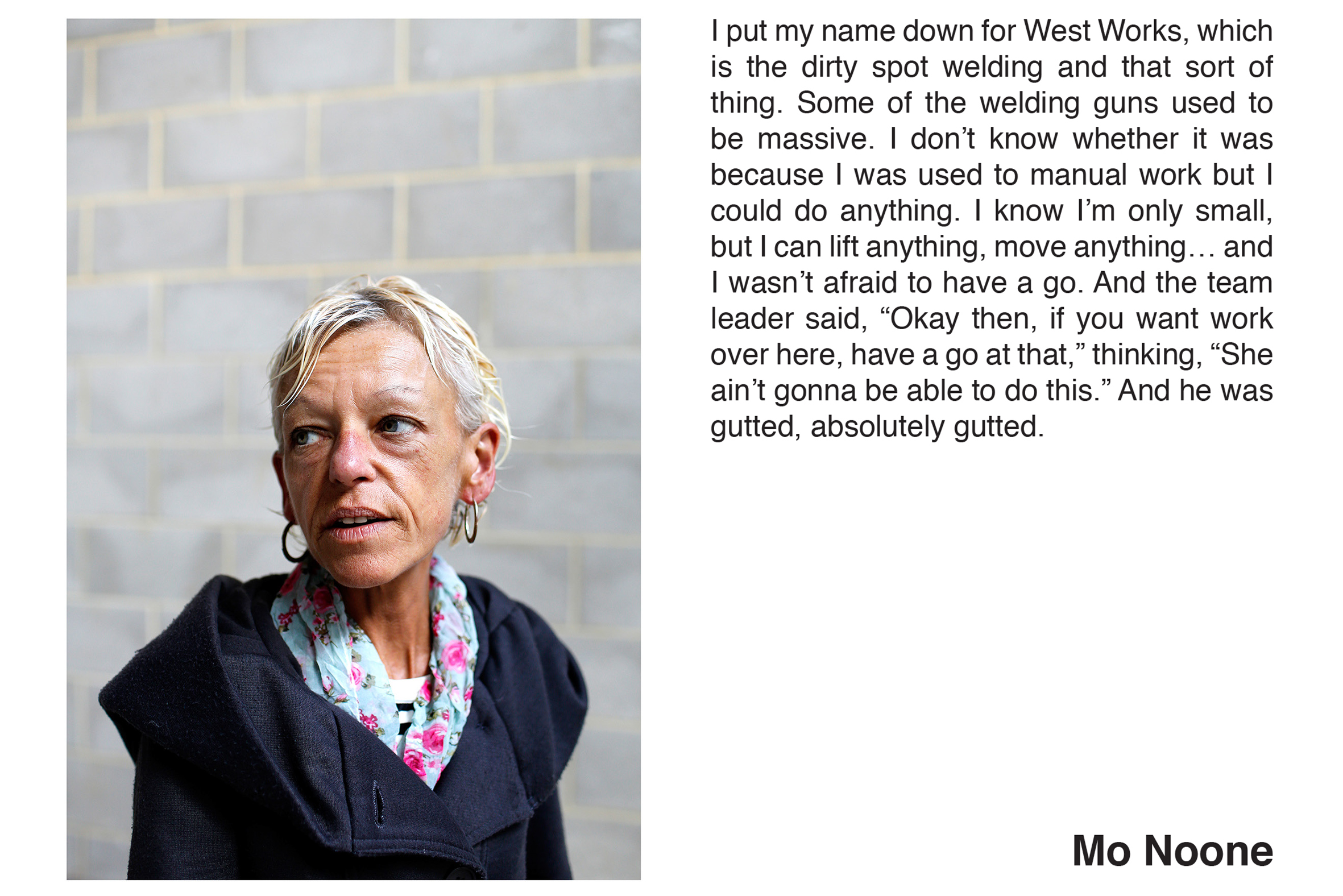 Mo Noone from the series 'Women of Longbridge' by Stephen Burke & Hannah Hull