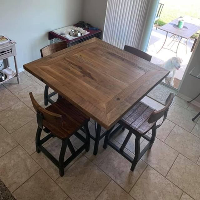 """A true artisan"" is what our customer said when we delivered this beauty! 😍⠀ .⠀ .⠀ .⠀ #villageofthearts #woodwork #handmade #customtable #handcrafted #furniture #oneofakind #interiordesign #homedesign #Customfurniture #rusticfurniture #statementpiece #srq #bradenton #lakewoodranch #sarasota #customhome #reclaimedwood #farmhouseinspired #farmhousestyle #shopsmall #shopsmallbusiness #shopsmallsrq #shopsmallbradenton #shoplocal #foresttofinish #forest2finish #f2f #f2fdesigns #foresttofinishdesigns"