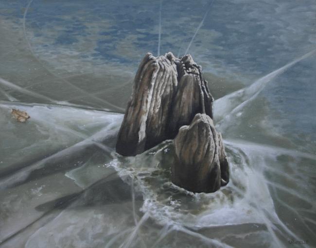 """""""Walden Pond Winter"""" 20""""x16"""" Oil on canvas"""