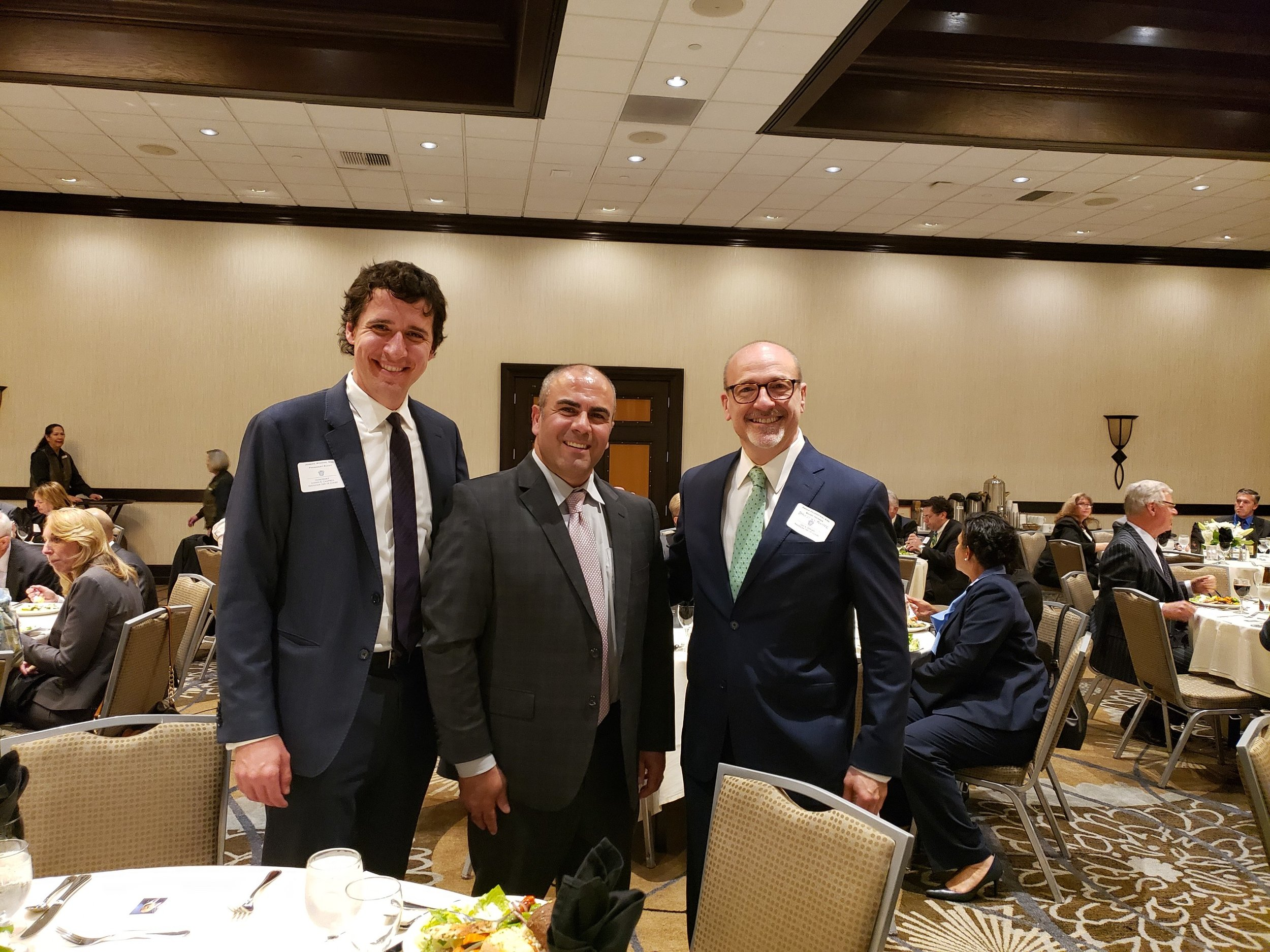 "(L-R) Joseph Widman (Assistant U.S. Attorney for the Central District of California and President-Elect of the Honorable Joseph B. Campbell American Inn of Court). Hon. Antoine ""Tony"" Raphael (San Bernardino Superior Court Judge), and Abram Feuerstein (Assistant U.S. Trustee for the Region 16 of the U.S. Attorney's Office, Central District of California and Member-at-large of the Leo A. Deegan American Inn of Court)."
