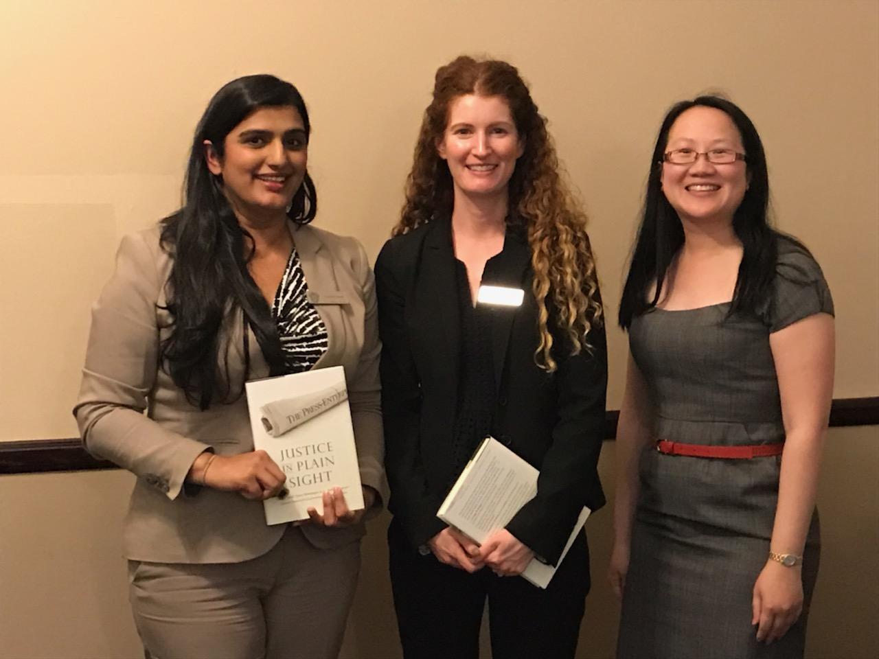 Goushia Farook, Laurie Burns, and L. Alexandra Fong (L-R)