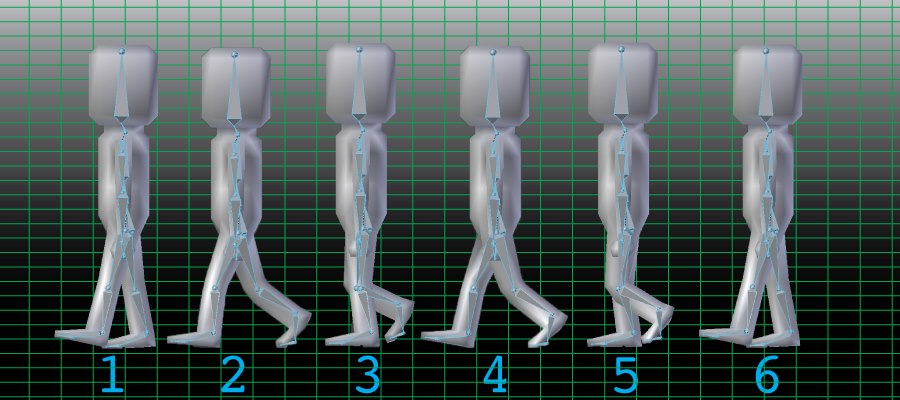 """This is a representation of the major """"tweens"""" used in the animation of Steve. If you look closely, you can see a faint blue outline inside of the model. This is the skeleton rigging, which makes animating characters a lot easier to do!"""