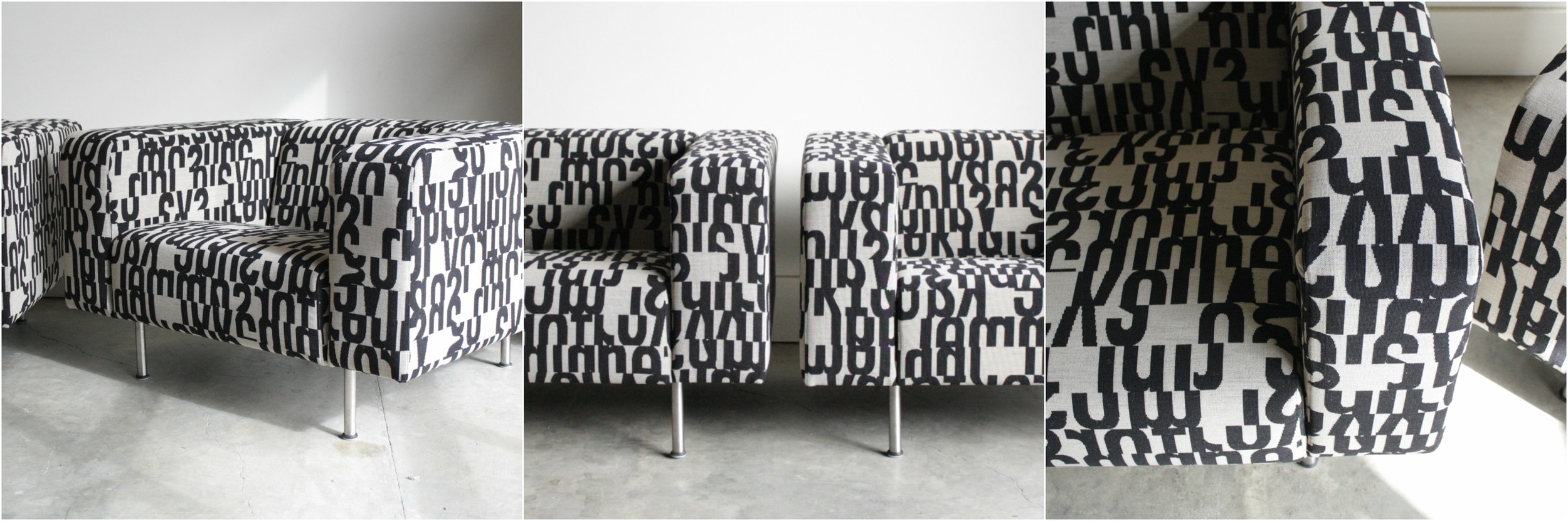 A client's modern chairs after upholstery (same as above)- recovered in Maharam fabric.