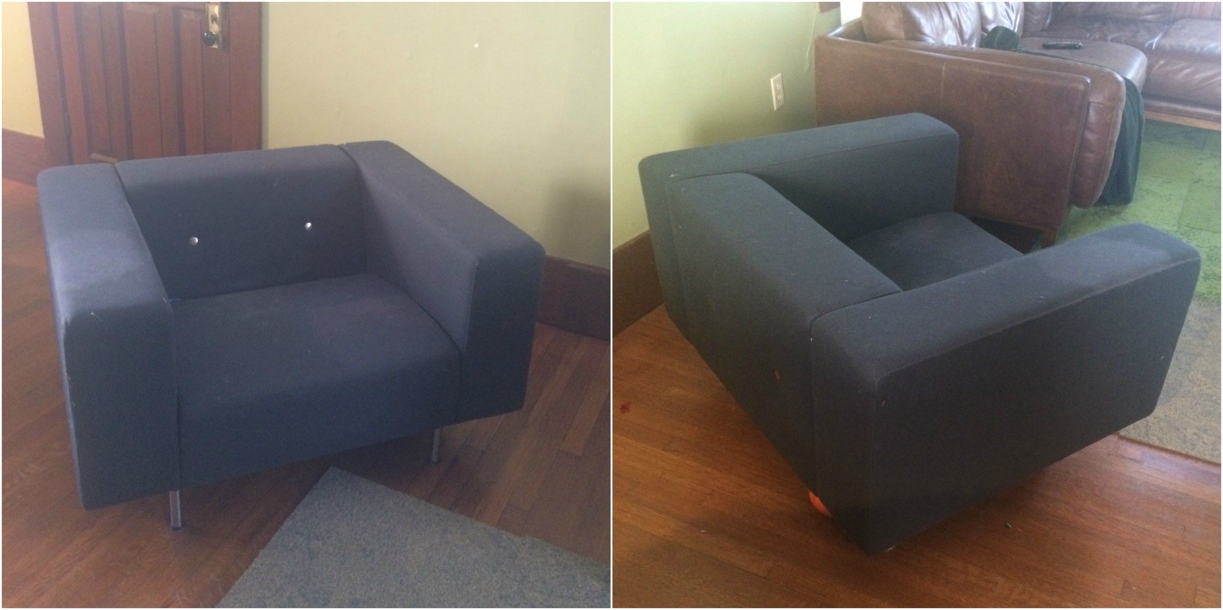 A client's chair before upholstery- sent via email to gain an estimate on labor.