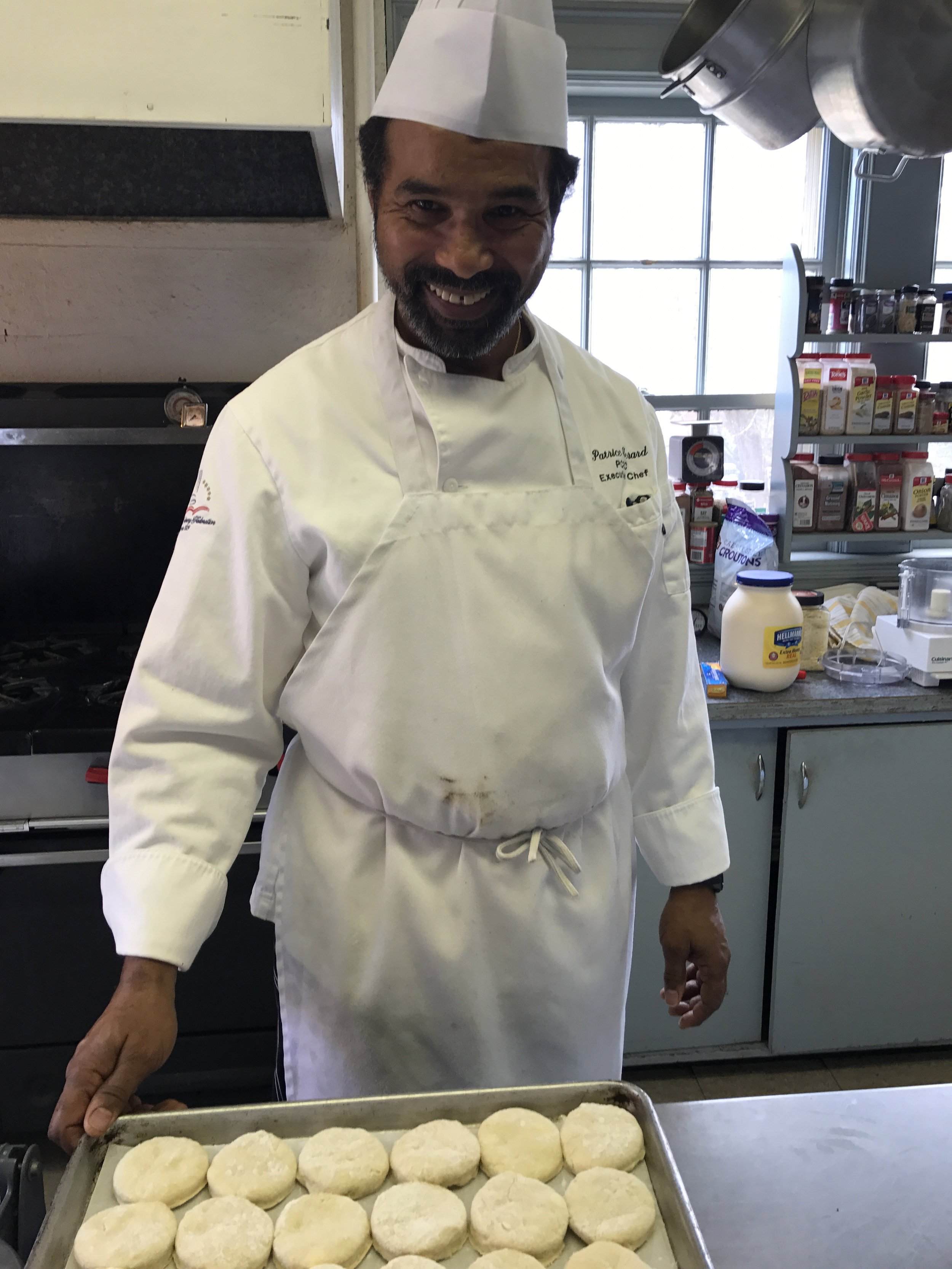 Chef Patrice volunteers his time.