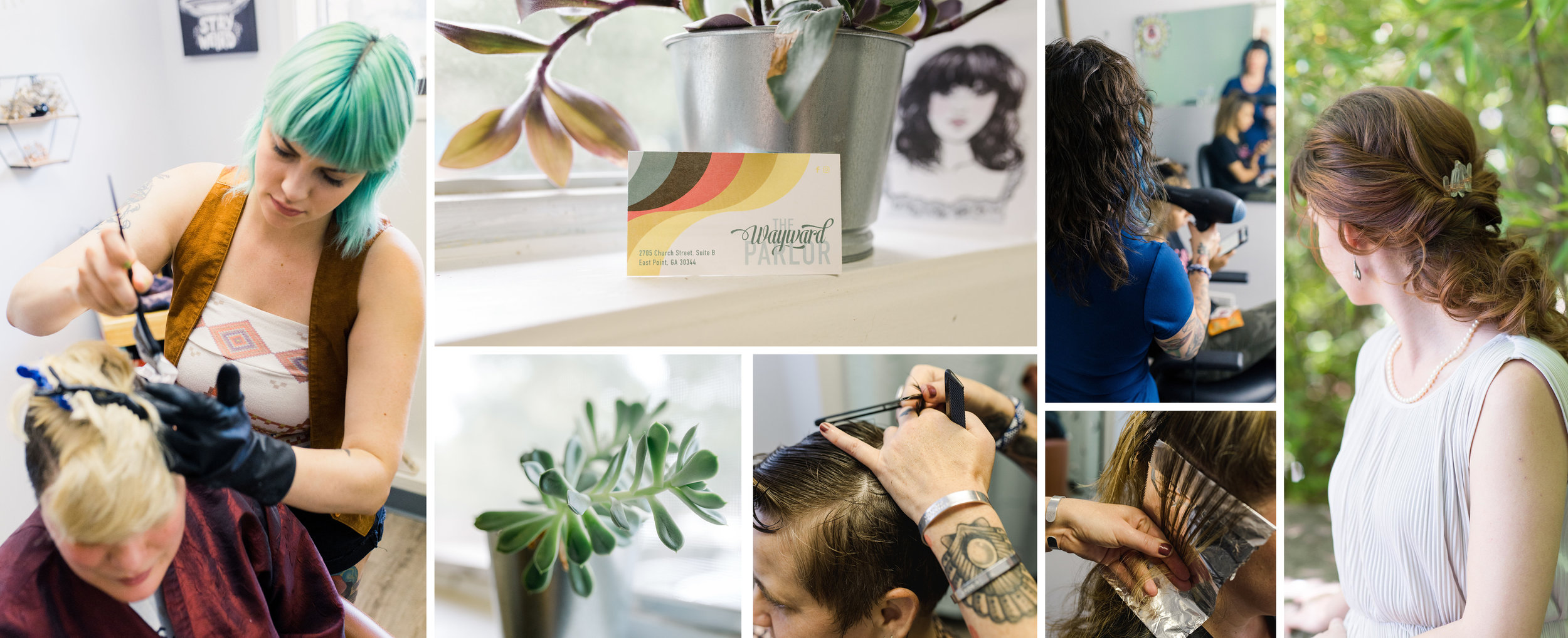 Collage of Salon, Straight Razor, Woman with short hair and bangs, man with hair brushed back and beard, sterilization container, woman with curls, and woman with hair pulled back in curls.