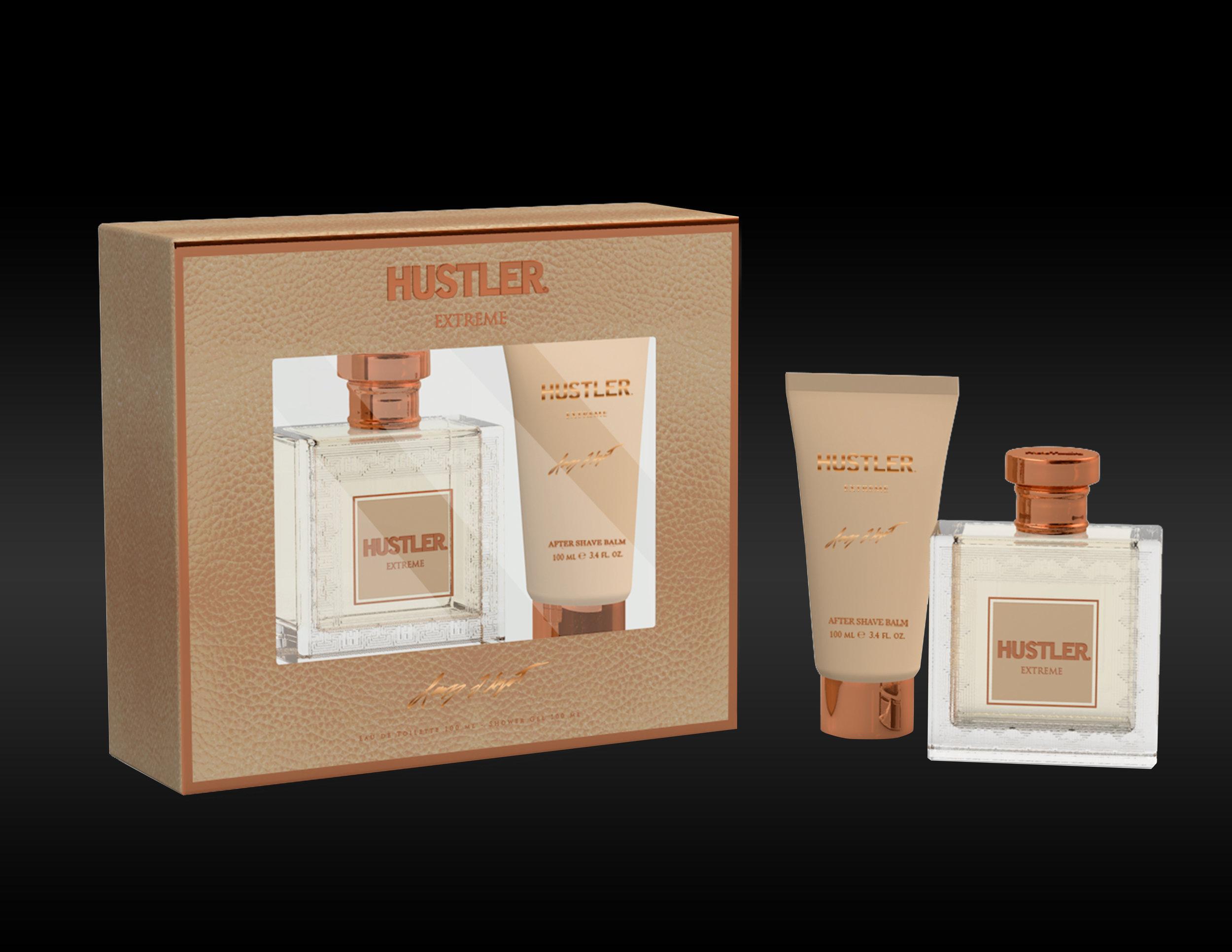 WINDOW BOX 2 PIECE GIFT SET    HUSTLER EXTREME  EAU DE TOILETTE 100 ml / 3.4 oz.fl+100ml After Shave Balm
