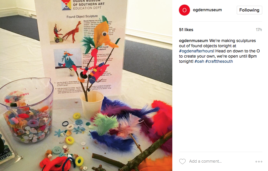 A recent Instagram post from the Ogden Museum about an art-making event