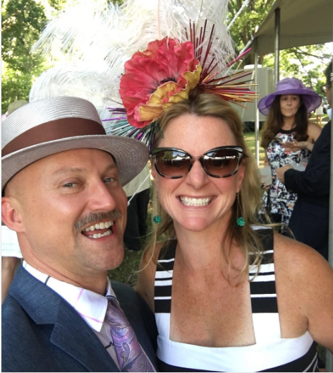 Jason and friend at a Kentucky Derby party this past April.