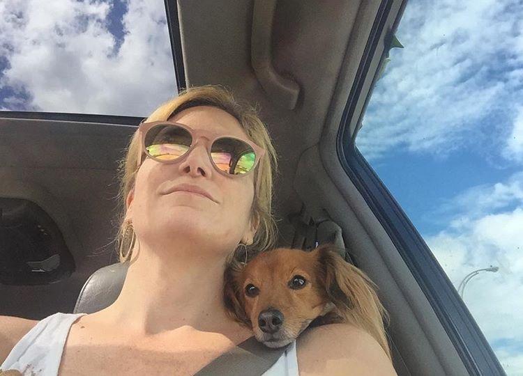 Amanda and Zippy headed to the beach