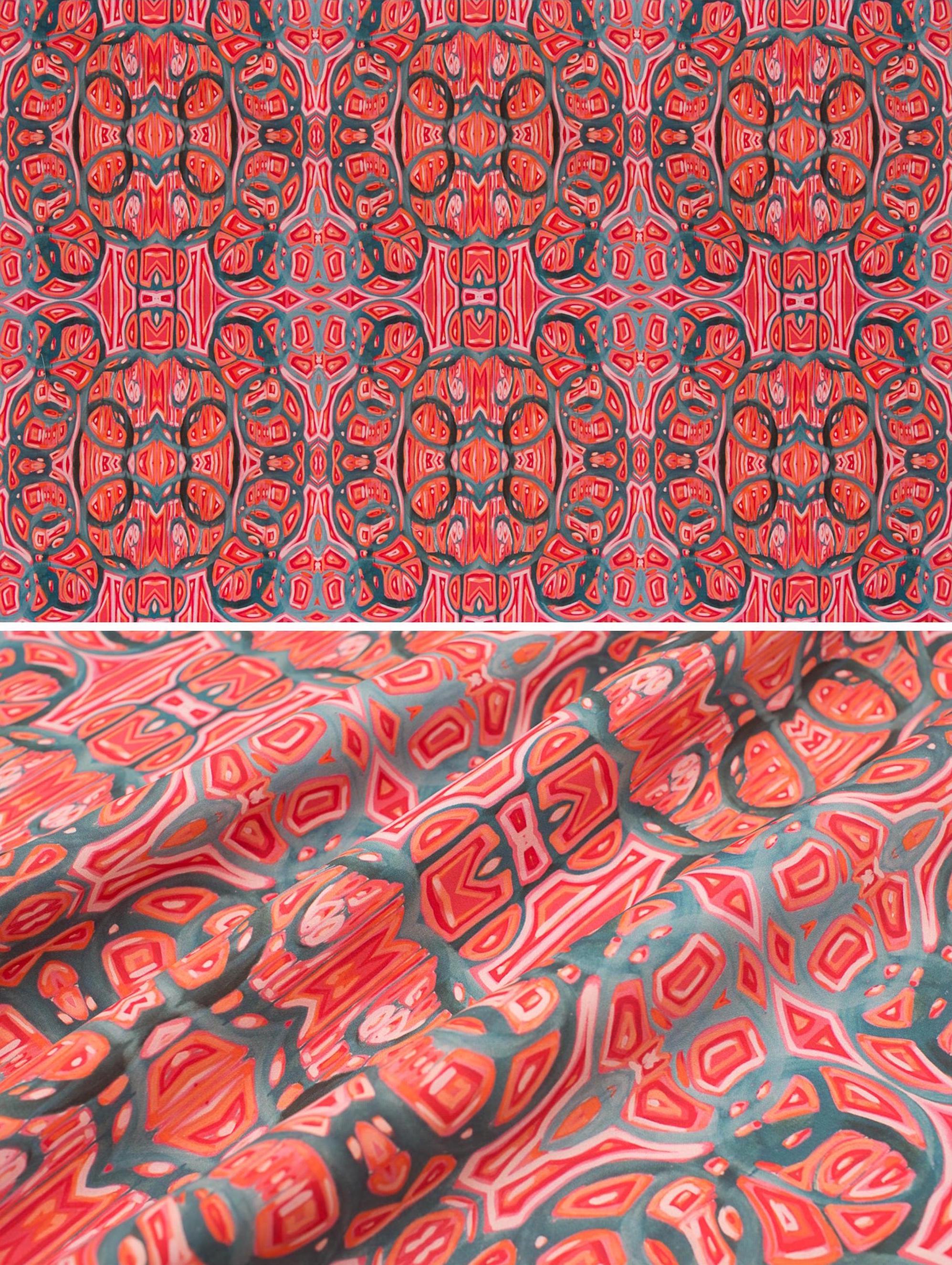 "Watermelon   Linen Cotton Canvas 36"" x 54"" Repeat is 9.03"" x 9.28"""
