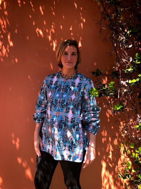 """Amanda in the first piece of her capsule collection, the """"Cassandra"""" blouse."""