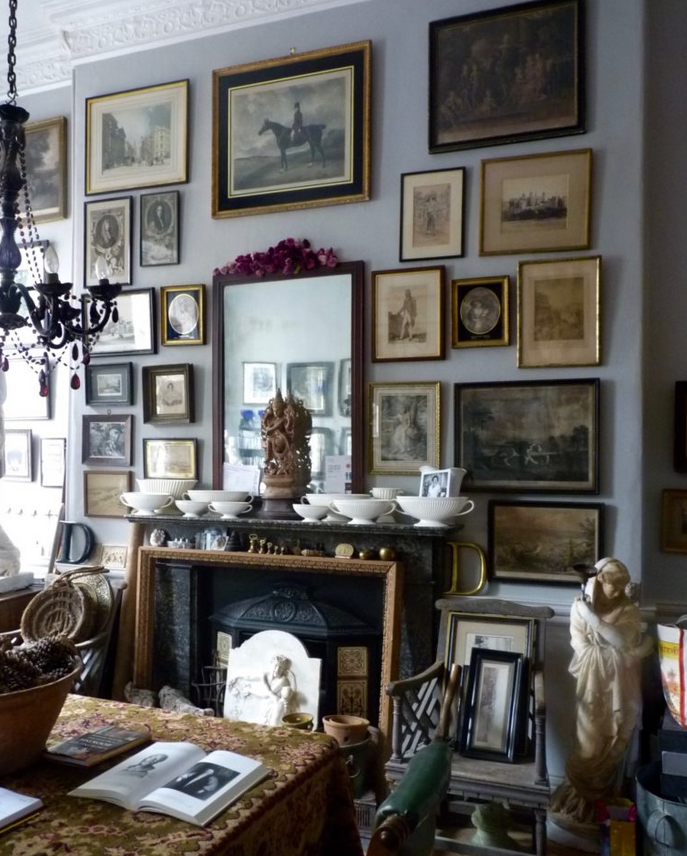 Beautiful organic gallery wall in David Bridgewater's English estate
