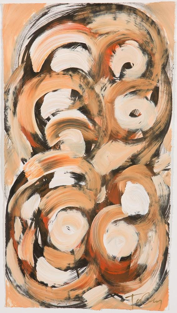 Here, we're recommending a piece that brings fireplace warmth on its own.   Forged (19x34 unframed work on paper; $1,650)