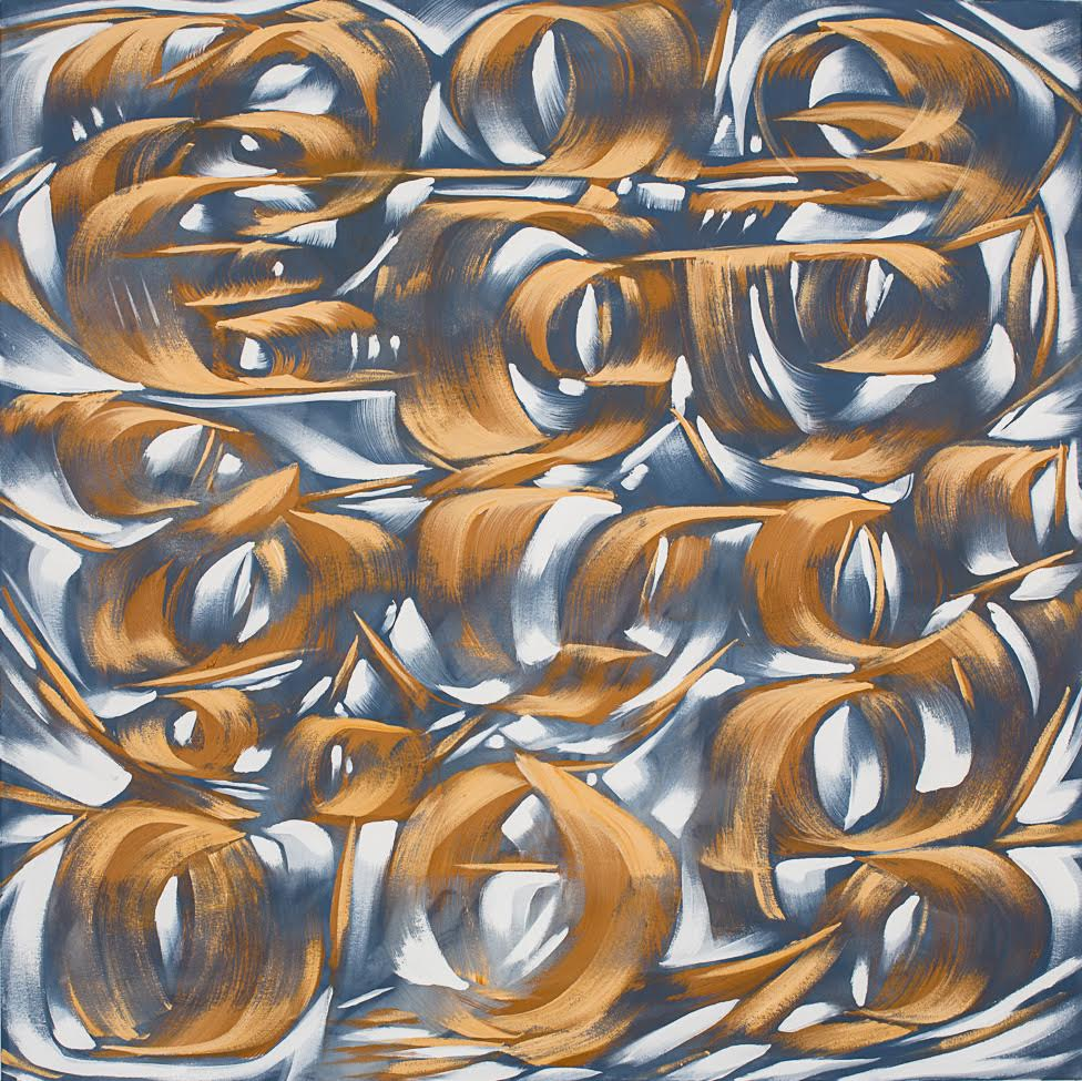 Golden Age (72x72 framed canvas; $15,500) plays with light and color to create a velvety texture.
