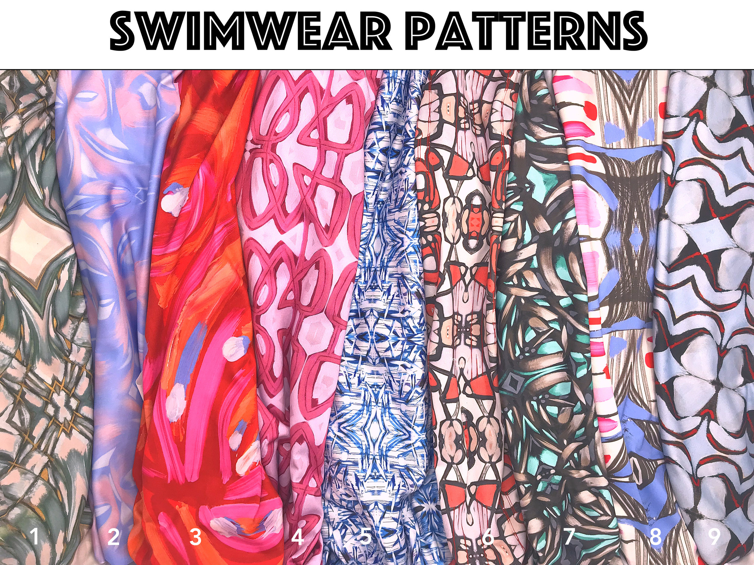Mix and match - pick your patterns and customize your suit! From left to right:  1. Beaumont Lane 2. Venusian 3. Chime 4. Bubbles 5. Crashing Waves 6. Shatter 7. Lagos 8. Morgan 9. Arrow
