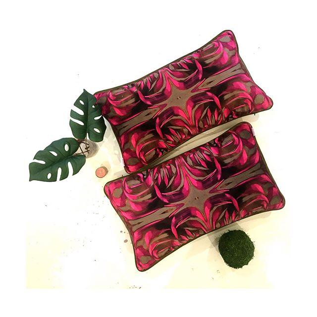 Prop in Style. Pair of #pontalbapattern velvet pillows with french green velvet trim and back ($145 each) #studioamandatalley