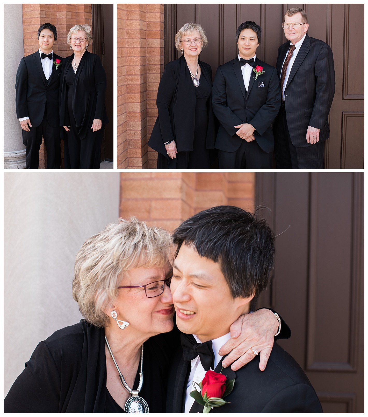 Kevin's Mom and Dad arrived as we were taking his portraits. I love this sweet candid moment of him and his Mom. Kevin's expression is priceless, typical guy.