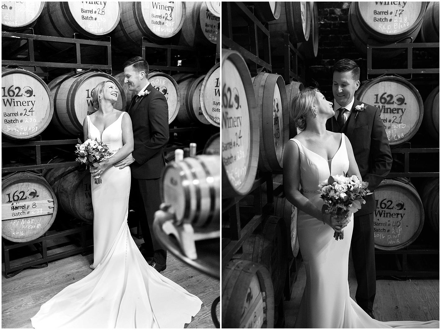 Wine barrel Wedding Portrait by Alyssa Parker Photography