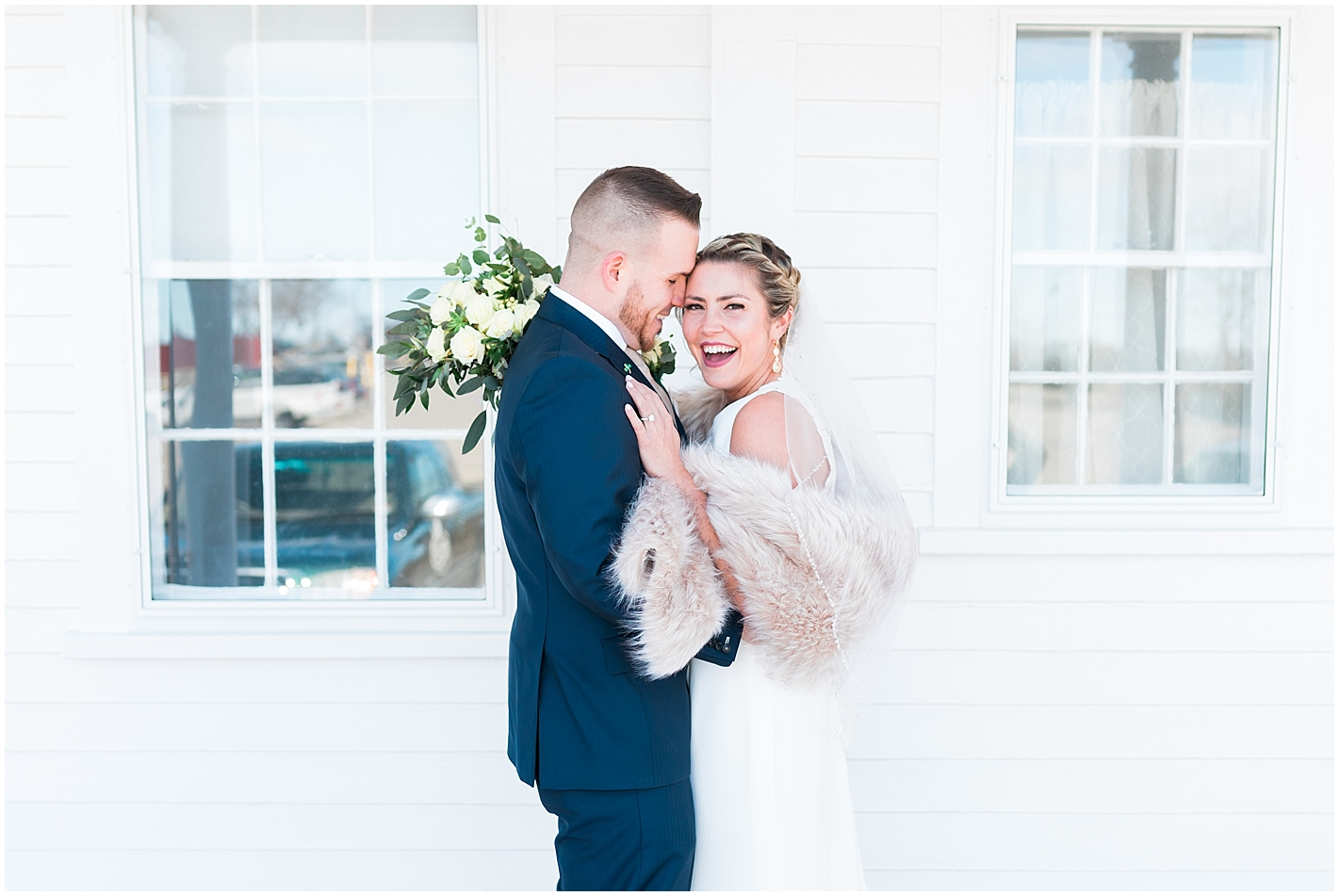 Happy bride and groom portraits  by Alyssa Parker Photography