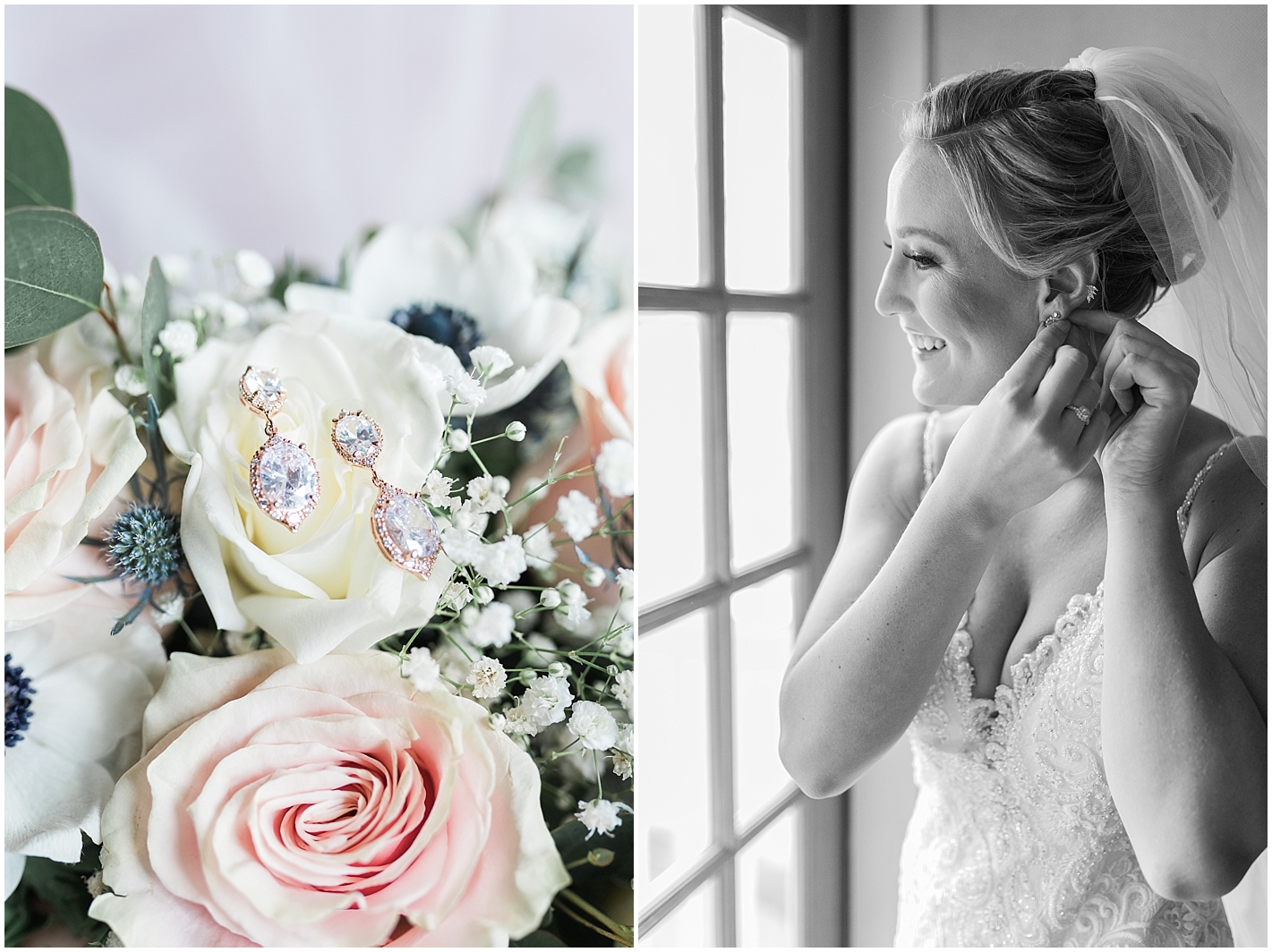 Rose gold drop wedding earrings Photos by Alyssa Parker Photography