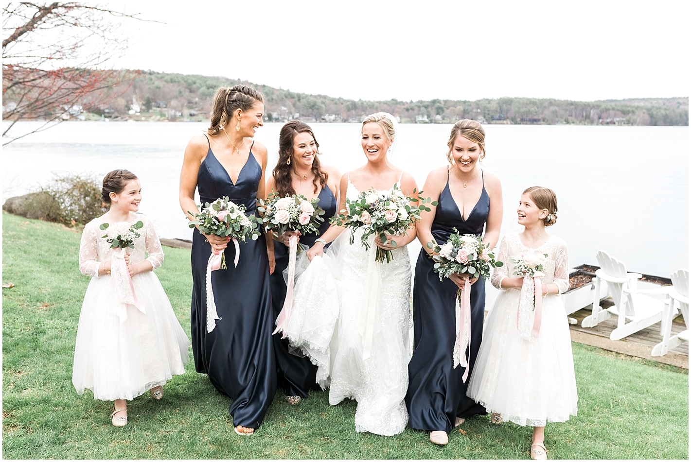 Blush Green and Navy Wedding Bouquets Photos by Alyssa Parker Photography