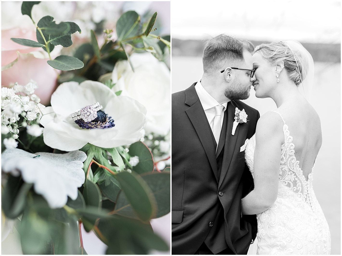 Romantic Wedding Couples Portrait Black and White Photos by Alyssa Parker Photography