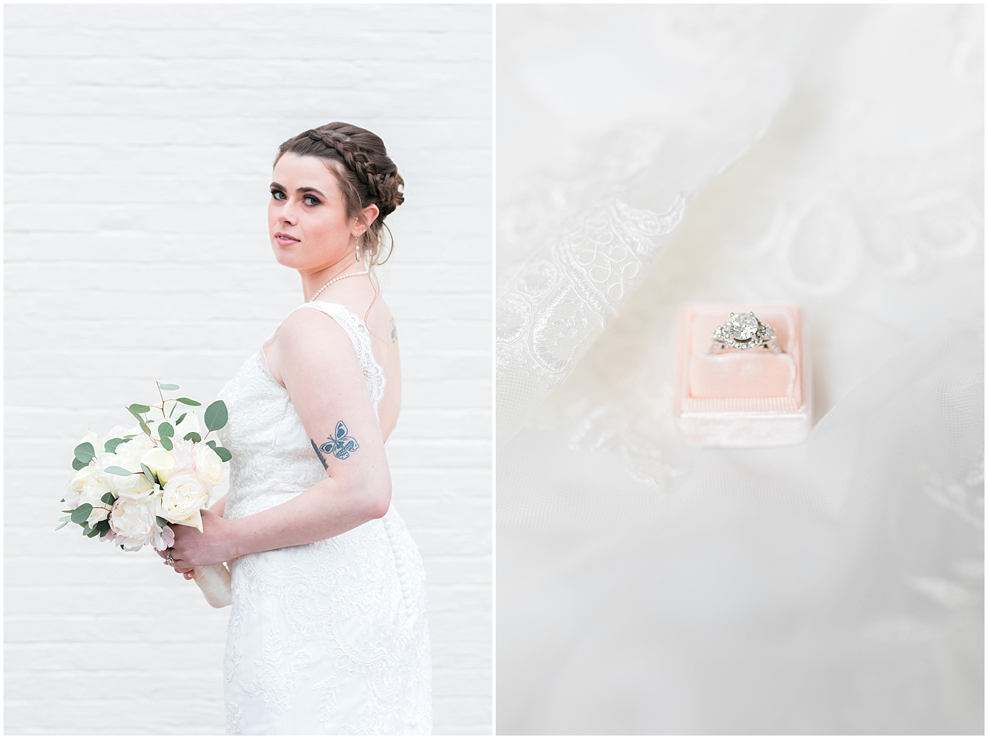 White and White Bridal Bouquet Photos By Alyssa Parker Photography