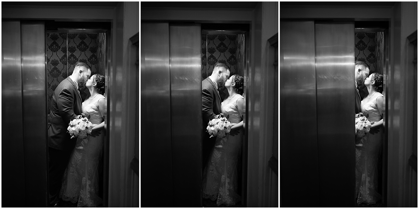 Elevator Bride and Groom Portraits Hawthorne Hotel Photos By Alyssa Parker Photography