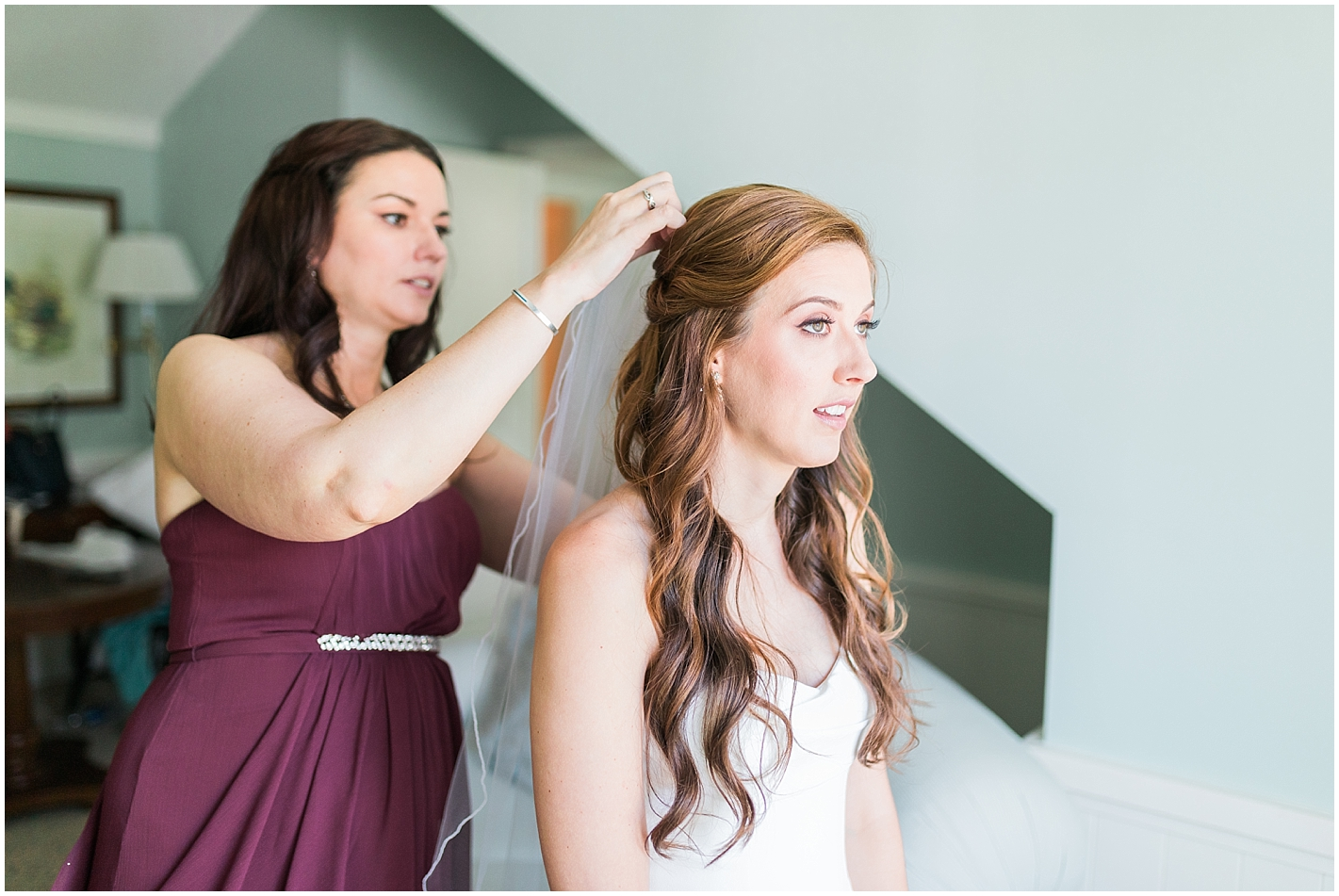 Bride and sister getting ready wedding day Photos by Alyssa Parker Photography