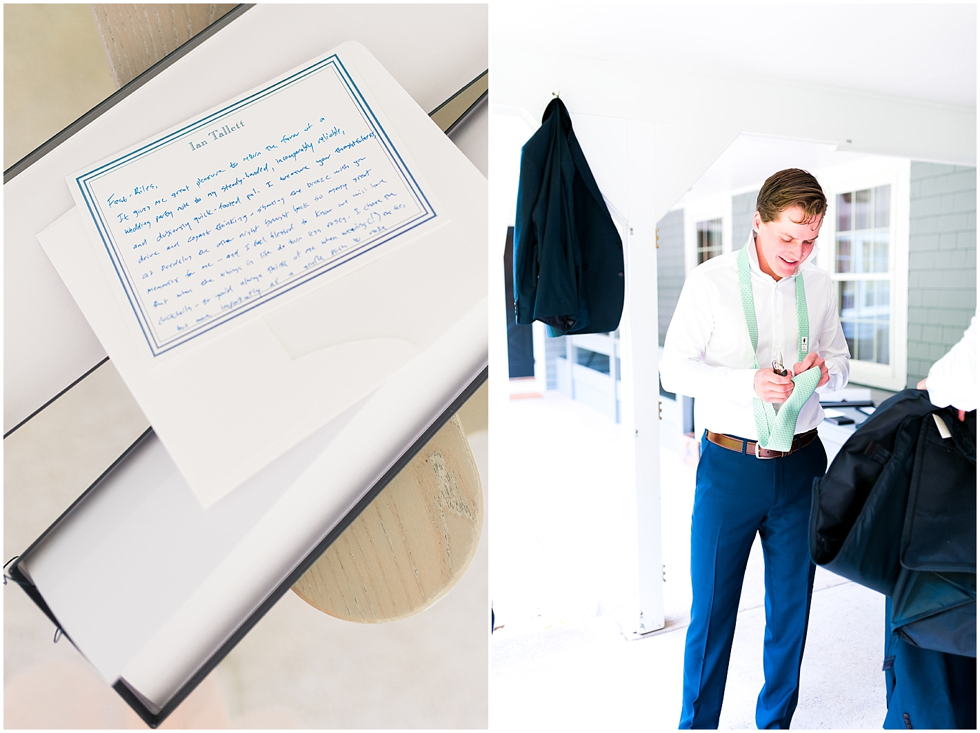 Groom hand writes notes to groomsmen on wedding day Photos by Alyssa Parker Photography