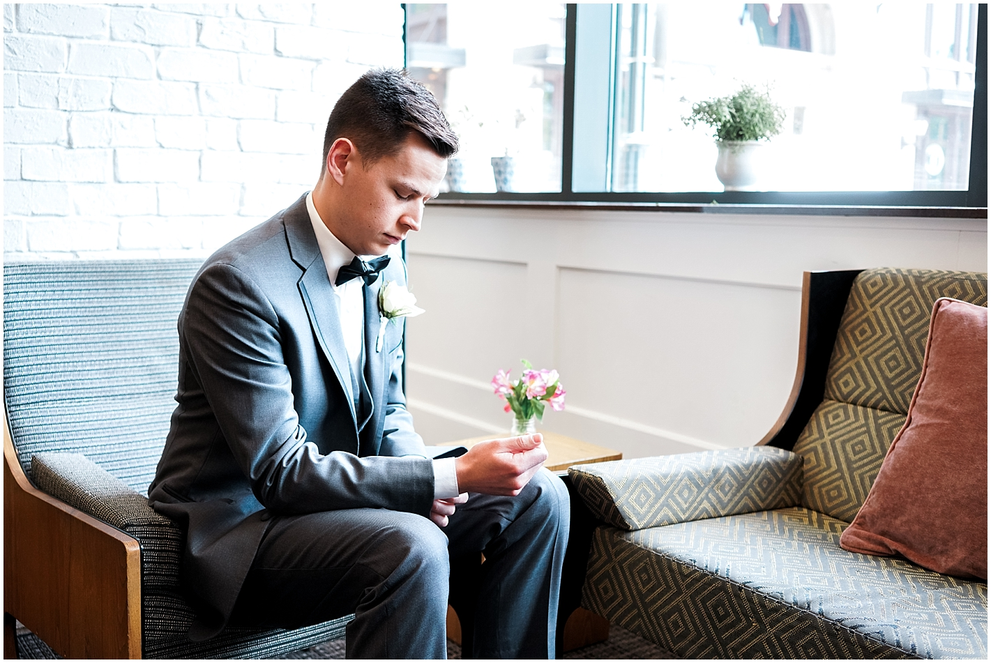 Groom getting ready portrait by Alyssa Parker Photography