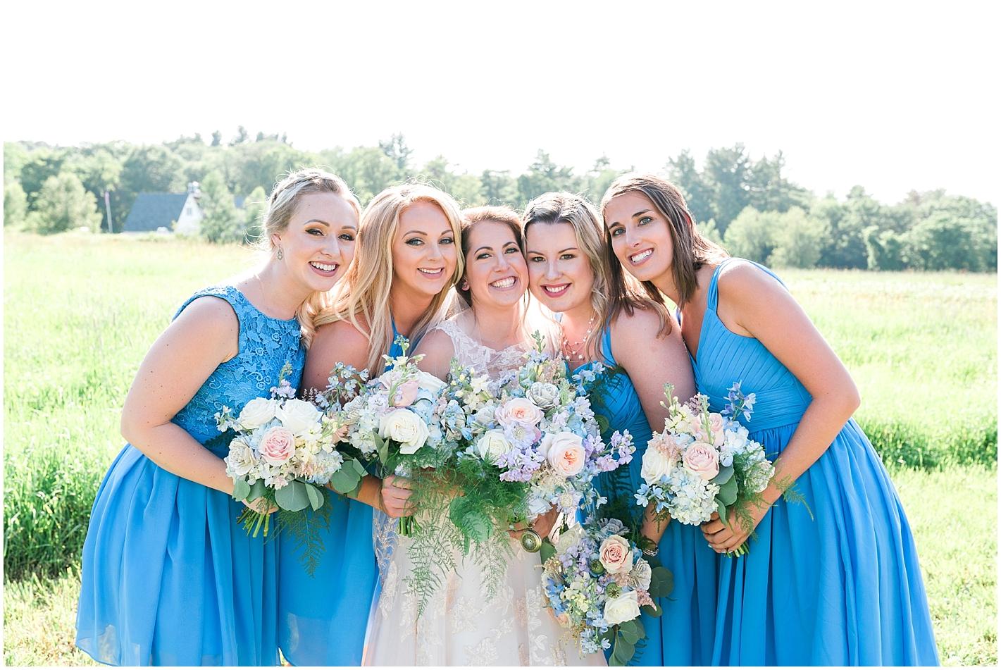 Blue short bridesmaids dresses photos by Alyssa Parker Photography