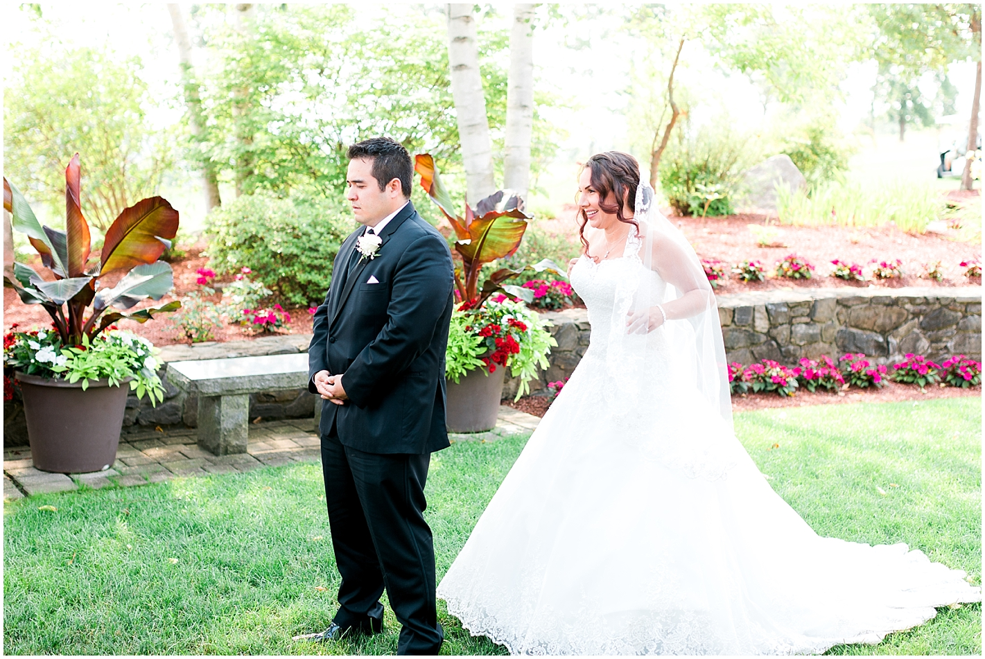 Bride and Groom First look at Sky Meadow Country Club Nashua New Hampshire Photos By Alyssa Parker Photography