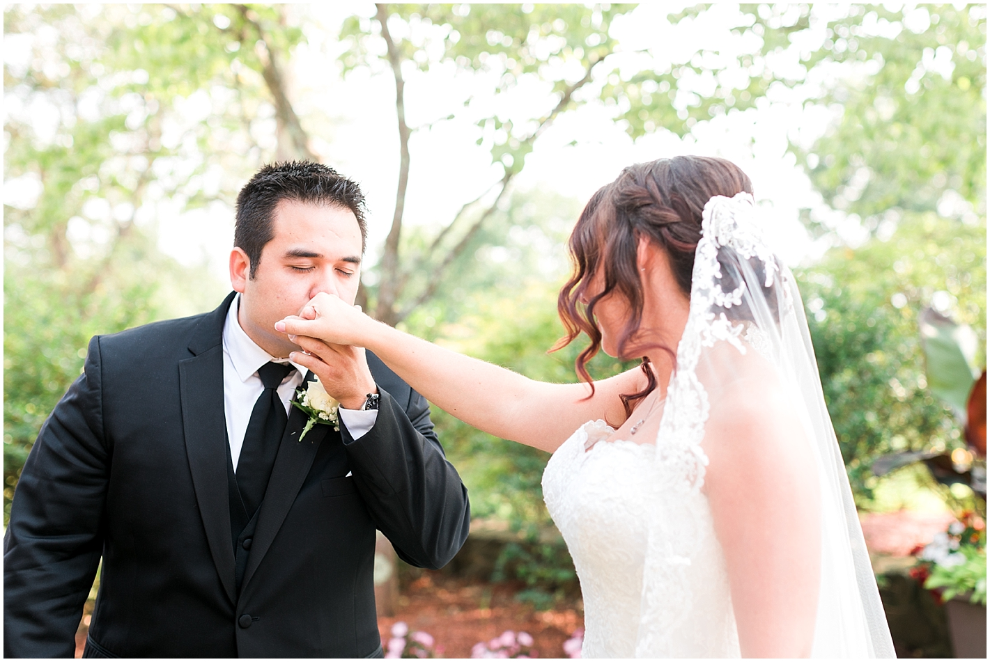 Sweet first look Sky Meadow Country Club Nashua New Hampshire Photos By Alyssa Parker Photography