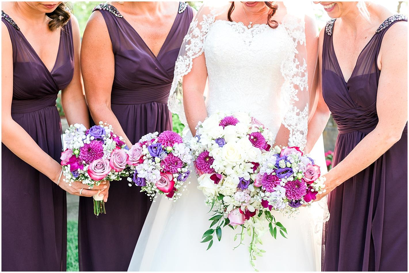 Purple, Magenta and white wedding bouquet