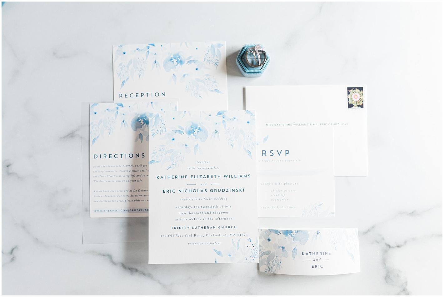 Blue floral invitation suite Photo By Alyssa Parker Photography