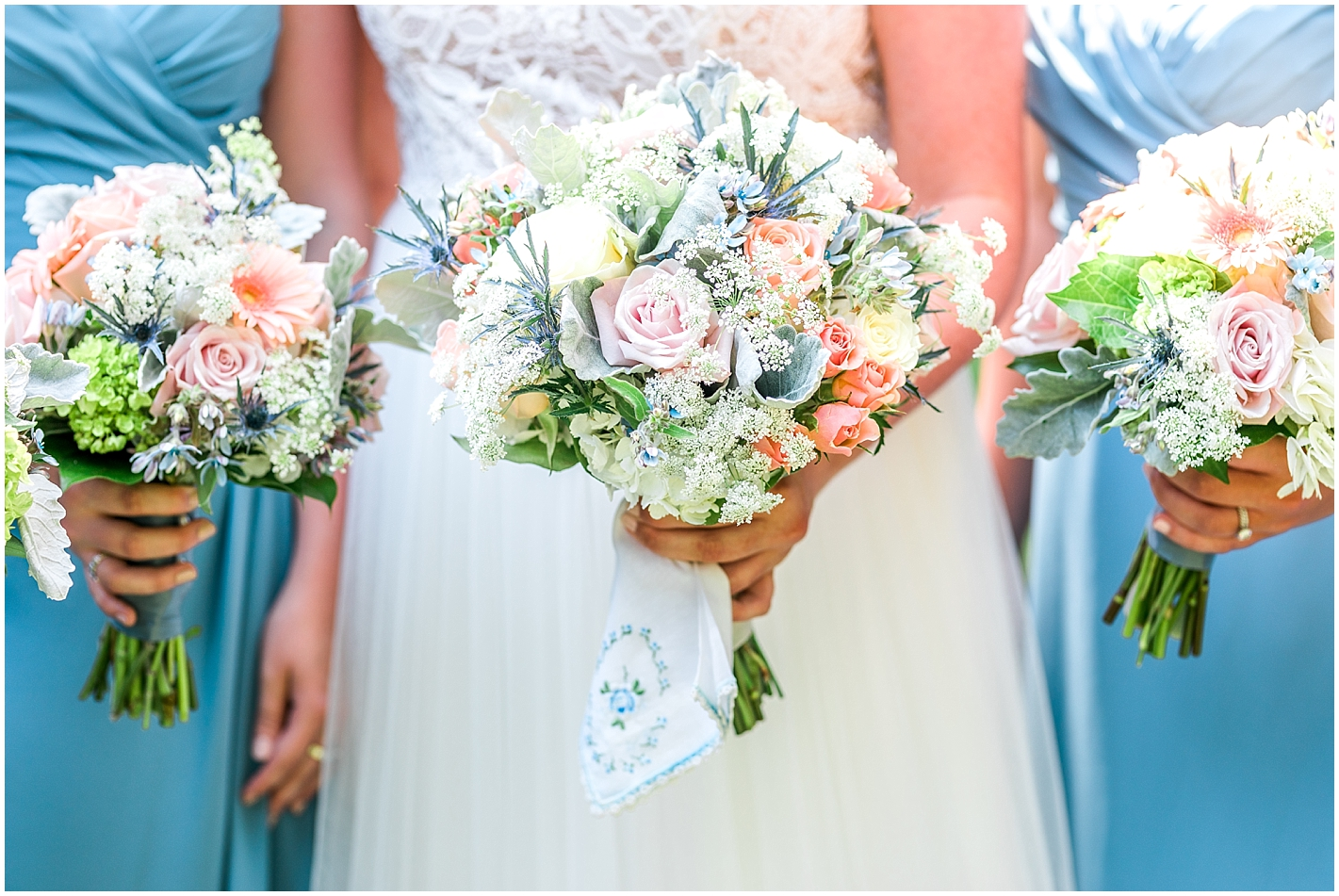 Peach, Blue and White bouquets Photo By Alyssa Parker Photography