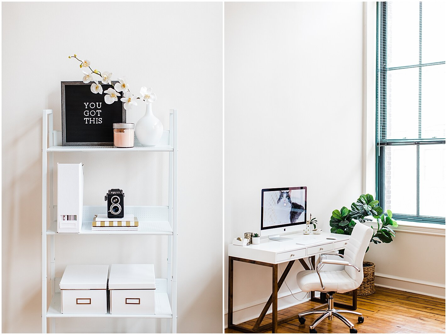 White and bright home office Alyssa Parker Photography