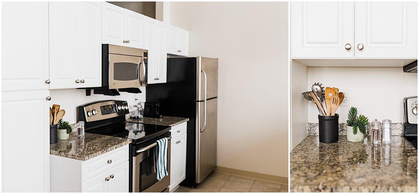 White cabinets granite counters kitchen