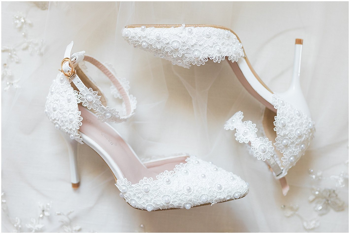 Beautiful Lace Wedding Pumps Photo by Alyssa Parker Photography