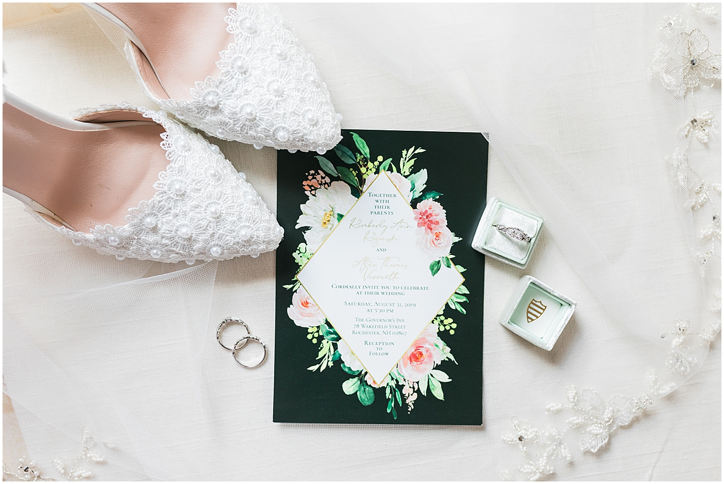 Green and Black Wedding Invite Photo by Alyssa Parker Photography